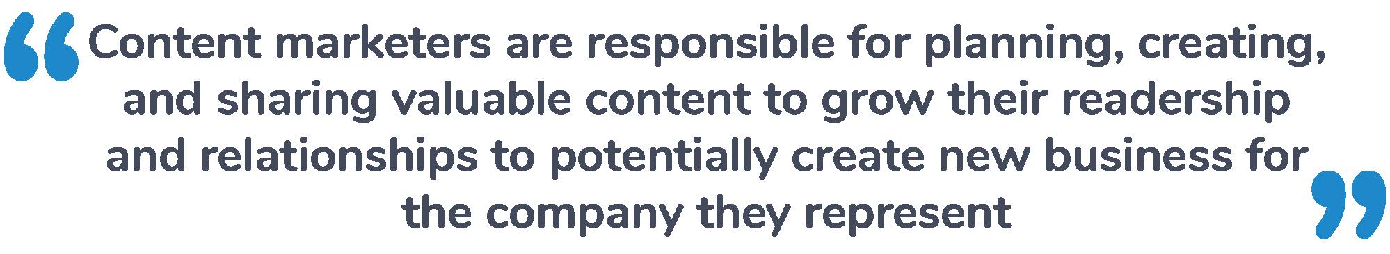 Content Marketer responsibilities