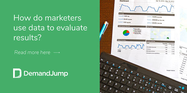 How do marketers use data to evaluate results?