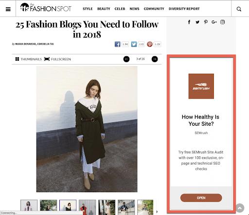 Fashion blog screenshot