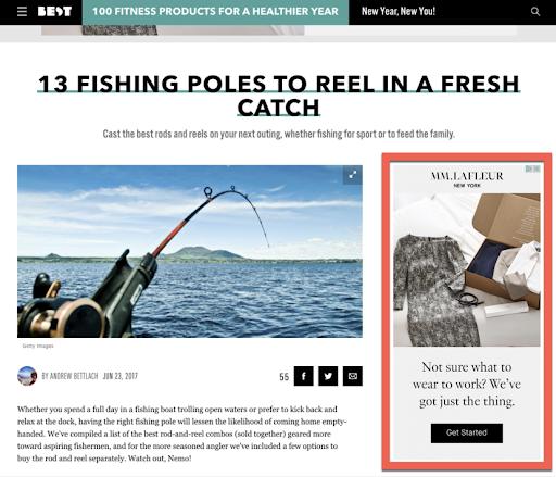Fishing page screenshot
