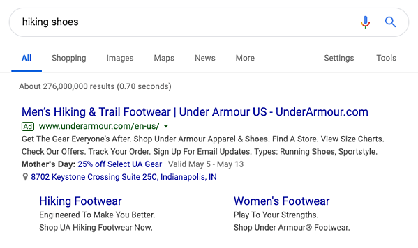 Search Advertising Example