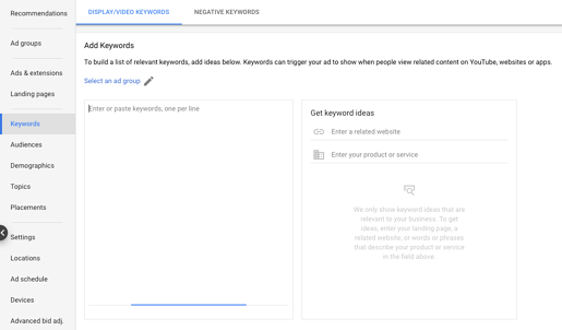 add keywords to contextually target with google
