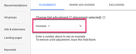 increase or decrease display ad placement bids