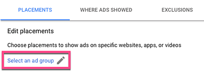selecting inclusion exclusion groups for display ad placements